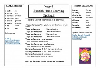 Year 4, Spring 2, Spanish Home Learning