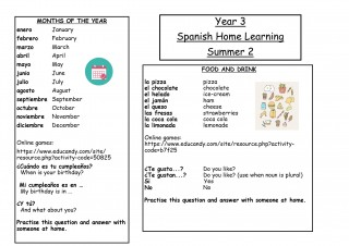 Y3 Spanish Home Learning